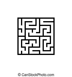 Vector black line maze icon