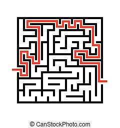 Vector black line maze icon