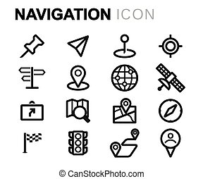 Vector black line navigation icons set