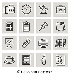 Vector black line office icons set