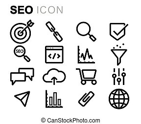 Vector black line seo icons set