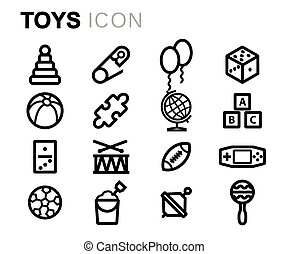Vector black line toys icons set