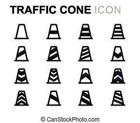 Vector black line traffic cone icons set