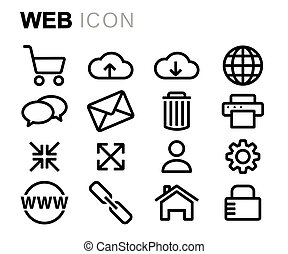 Vector black line web icons set