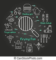 Vector black linear banner of frying pan