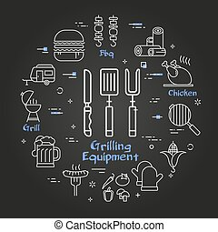 Vector black linear banner of grilling equipment
