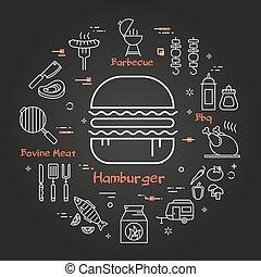 Vector black linear banner of hamburger