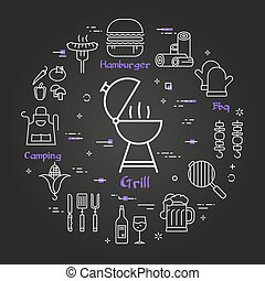 Vector black linear banner of picnic grill