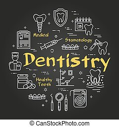 Vector black linear round web banner of dentistry
