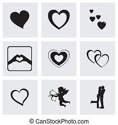Vector black love icons set
