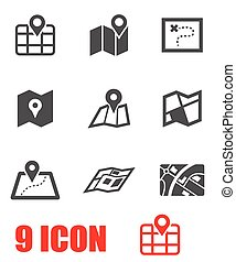 Vector black map icon set. Map Icon Object, Map Icon...