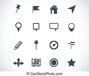 Vector black  map icons set