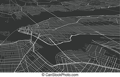 Vector black map of New york