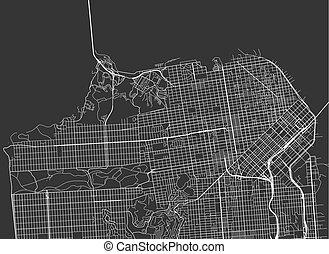 Vector black map of San Francisco