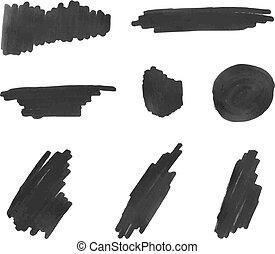 Vector Black Marker Strokes, Isolated on White Background, Set.