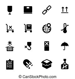 Vector black marking of cargo icons set