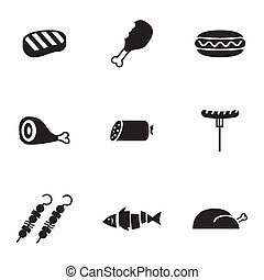 Vector black meat icons set