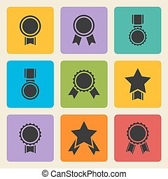 Vector black medal, award icons set