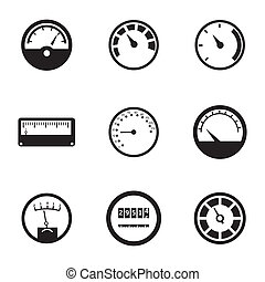 Vector black meter icons set on white background