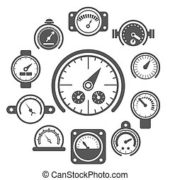 Vector black meter icons set. Power panel, interface barometer gauge control illustration