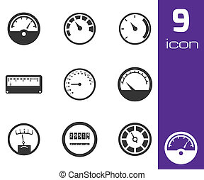 Vector black meter icons set white background