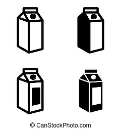 Vector black milk carton packages icons set