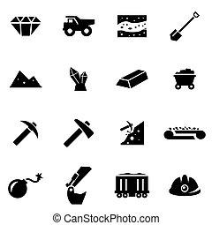 Vector black mining icon set