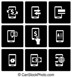 Vector black mobile banking icon set