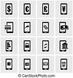 Vector black mobile banking icon set