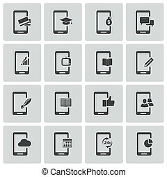 Vector black mobile icons set on white background