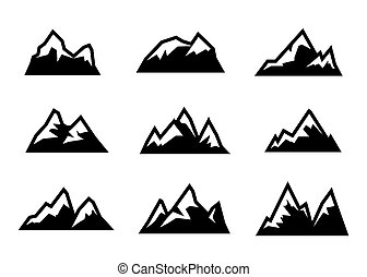 Vector black mountain icons set