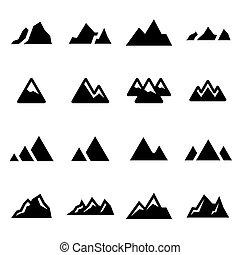 Vector black mountains icons set