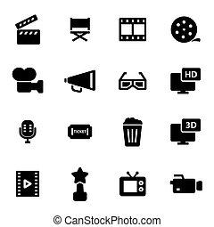 Vector black movie icons set