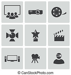 Vector black movie icons set
