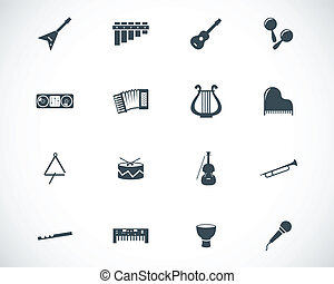 Vector black music instruments icons set