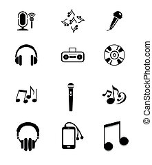 Vector Black Music Instruments Icon