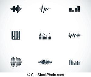 Vector black music soundwave icons set