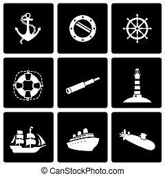 Vector black nautical icon set