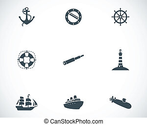 Vector black nautical icons set