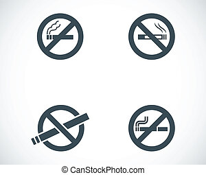 Vector black no smoking icons set