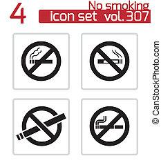 Vector black no smoking icons set