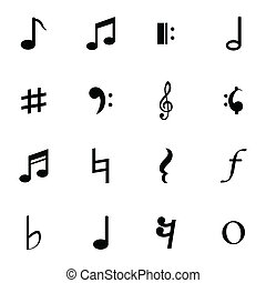 Vector Black Notes Icons Set - Vector black notes icons set...