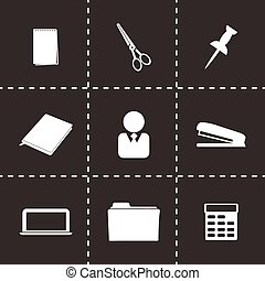 Vector black office icons set