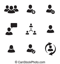 Vector black office people icons set