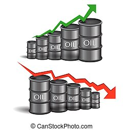 Vector black oil barrel with red and green arrows on white background eps 10