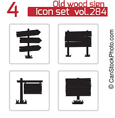 Vector black old wood sign set