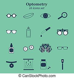 Vector black optometry icon set on blue background. Optician...