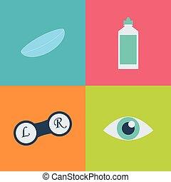 Vector black optometry icon set. Optician, ophtalmology, ...