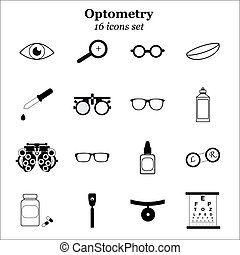 Vector black optometry icon set. Optician, ophtalmology, vision correction, eye test, eye care, eye diagnostic