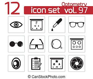 Vector black  optometry  icons set